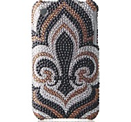 Brown White Bottom Flower Bling Case PC Hard Case for iPhone 3G/3GS