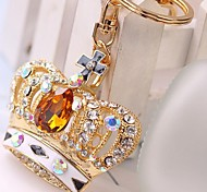 Fashion High Quality Diamond Crown Metal Keychain(Random Color)