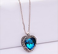 European Style Fashion Heart Gemstone Long Necklace