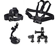 Gopro Accessories 4 in 1 Chest Strap + Head Strap+Handlebar Seatpost + Car Suction Cup For GoPro Camera