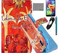 Coco Fun® patrón elefante naranja caso de cuero de la PU con el cine y cable usb y el lápiz para i9600 Samsung Galaxy S5