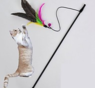 Cat Toy Pet Toys Teaser Feather Toy Bell Black Textile