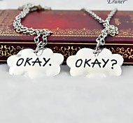 Eruner® 2015 NEW The Fault in Our Stars Set of Two Okay Necklace Cloud Friendship Okay? Okay. Necklace(2 pcs 1 set)