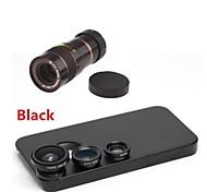 Teleobiettivo 8x / lente fisheye / grandangolo add-on kit obiettivo macro con il caso posteriore di iphone 4 / 4s (colori assortiti)