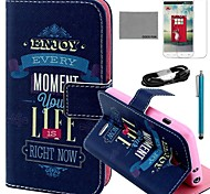 COCO FUN® Black Blue Ribbon Pattern PU Leather Full Body Case with Film and USB Cable and Stylus for LG L70