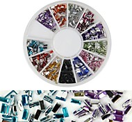 600PCS 12 Color Square Diamond Nail Art Decoration