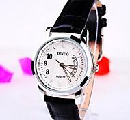 relógio de couro mostrador redondo banda quartzo moda feminina (cores sortidas)