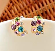 coloridas brilhantes brincos de diamante
