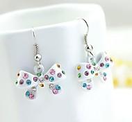 frescas branco colorido brincos de diamantes arco