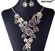 Miss ROSE®European Vintage Flower Pattern Earrings & Necklace Jewelry Set(Assorted Colors)