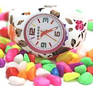 mulheres cinta de silicone branco redondo movimento de quartzo japonês relógio fw922c