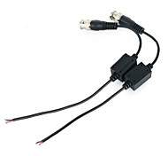 Water-resistant UTP Twisted Pair Video Balun Transceivers w/ Extension Cable - Black (Pair)