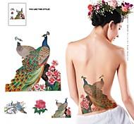 PC 1 flores multicolores impermeables y patrón del pavo real pegatinas tatuaje
