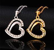 U7® Platinum 18K Real Gold Plated 2 Layers Heart Necklace Rhinestone Pendant Necklace Fashion Jewelry