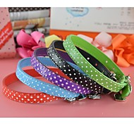 Polka Pu Leather Collar with Charm for Dogs and Pets(assorted colors,size)