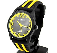 Women's Round Black Dial Multicolor Silicone Black Band Fashion Water Resist Quartz Watch (Assorted Colors)