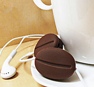Coffee Beans Shape Cartoon Silicone Earphone Cable Wire Cord Organizer Cable Winder