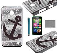 Coco Fun® ancla negro ordenador pattern dura cubierta trasera con protector de pantalla y el stylus para N630 Nokia Lumia