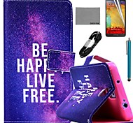 COCO FUN® Free Life Pattern PU Leather Case with Film and Stylus and USB Cable for Samsung Galaxy Note 3