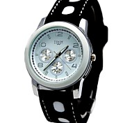 Women's Round White Dial Silicone Black Band Fashion Quartz Watch (Assorted Colors)