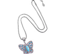 Coway Fashion Personality Ancient Turquoise Butterfly Valley Crystal Encrusted Pendant Necklace