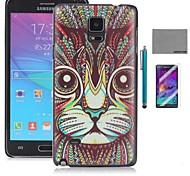 cubierta de la caja de coco Fun® modelo del gato pc lindo duro de nuevo con protector de pantalla y el stylus para Samsung Galaxy Note 4
