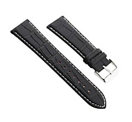 24mm Durable Black PU Leather Watch Band Strap Alloy Buckle White Stitching