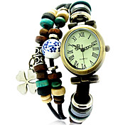 Women's  Four-leaf Clover Style Leather Band Vintage Quartz Analog Bracelet Watch