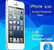 2.5d de haute qualité bord rond 0,33 mm antidéflagrants trempé film protecteur d'écran en verre pour iPhone 4 / 4S (de 3pcs)