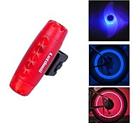 FJQXZ Bullet Design Red Waterproof Warning Tail Light and 2 PCS Blue Bike Spoke Light with1 Pair Safety Valve Lamp Set