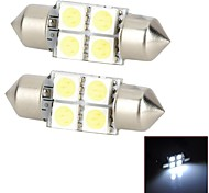 LY224 Festoon 31mm 1.2W 44lm 4-SMD 5050 LED White Light Car Interior / Reading Lamps (DC 12V / Pair)
