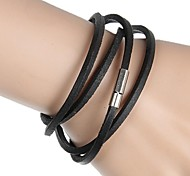 4 Ring Buckle Leather Wrapped Leather Bracelet (Multicolor)