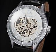 FORSINING Herren Totenkopfuhr Mechanische Uhr Automatikaufzug Transparentes Ziffernblatt Leder Band Schwarz Weiß Schwarz Bronze