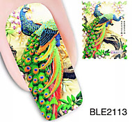 1PCS Peacock Design Watermark Nail Art Stickers BLE2113