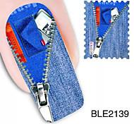 1PCS Jeans Design Watermark Nail Art Stickers BLE2139