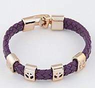 Fashionable Peace Symbol Purple Leather Bracelets (1 pc)