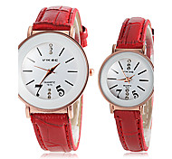 Couple's Round Dial Red PU Band Quartz Wristwatch