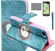COCO FUN® Floral Heart Pattern PU Leather Full Body Case with Screen Protector and Stylus for iPhone 5C