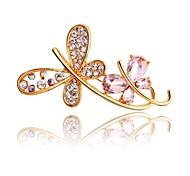 Two Diamond Crystal Butterflies  Brooch