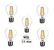 5 pcs ONDENN E26/E27 4 COB 400 LM Warm White A60(A19) edison Vintage LED Filament Bulbs AC 100-240 V