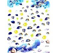 1PC 3D Trendy Nail Art Stickers Nail Wraps Nail Decals Ocean Blue Tropical Fish Nail Polish Decorations