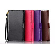 Pure Crazy Horse Lines Wallet Card PU Case with Stand for Samsung Galaxy /E5/S6/E7(Assorted Color)