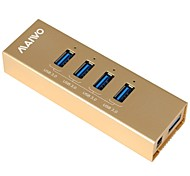 MAIWO 4-Port USB3.0 USB HUB with Aluminum case Golden color