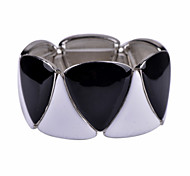D Exceed Women's Fashion Black and White Geometric Enamel Bracelet, Stretch Silver Alloy Casting Bracelet
