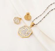 Fashion Hexagonal 316L Stainless Steel CZ Diamonds Inlaid (Necklace&Earrings) Jewelry Set