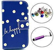 Be Happy Daisy Pattern PU Leather Case with Stylus and Dust Plug for Samsung Galaxy Trend Lite S7390/S7392