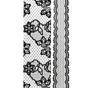 1PC 3D Black Cute Nail Art Stickers Lace Nail Wraps Nail Decals Big Flower Nail Polish Decorations