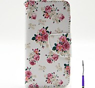Charming Flowers Pattern PU Leather Case Cover with A Touch Pen ,Stand and Card Holder for iPhone 5/5S