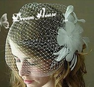 Feather Appliqued Party Wedding Bridal White Lace Flower Bridal Hair Accessories