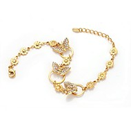 Lady`s Fshion Jewelry 18k Yellow Gold Plated Shining Austria Crystal Butterfly Pendant Bracelet